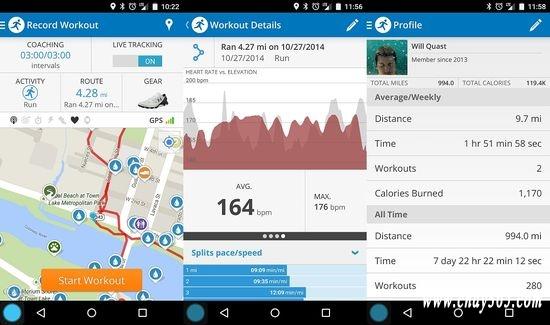 MapMyRun cho phép bạn theo dõi chặng đường chạy của bạn dựa vào GPS.