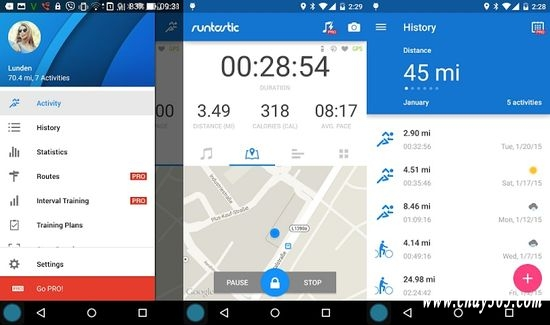 Runtastic sử dụng GPS để theo dõi các thông số độ dài quãng đường, thời gian, tốc độ trong bài tập của bạn ở mức độ thời gian thực.