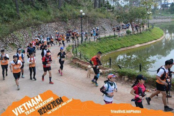 Cam xuất phát cùng các runner 42km ở rừng thông bản Áng. Ảnh: VTM