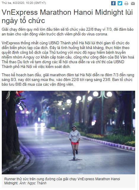 VnExpress Marathon Hanoi Midnight lùi ngày tổ chức