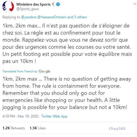 Cảnh báo của Bộ Thể thao Pháp trên Twitter