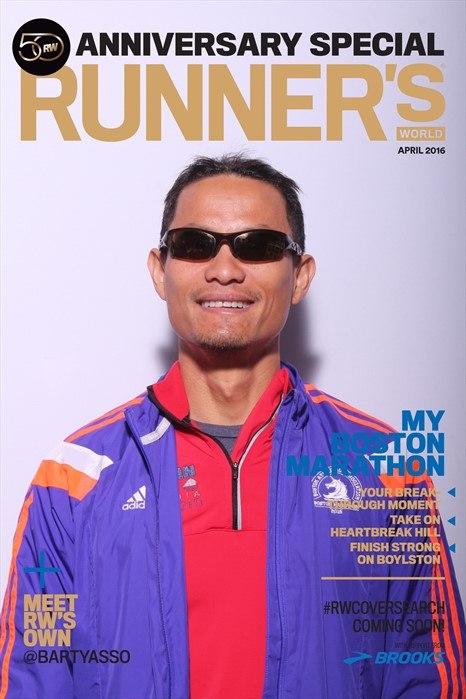 Spidey Nguyễn (Quang Nguyễn) ở giải Boston Marathon 2015. Ảnh: NVCC
