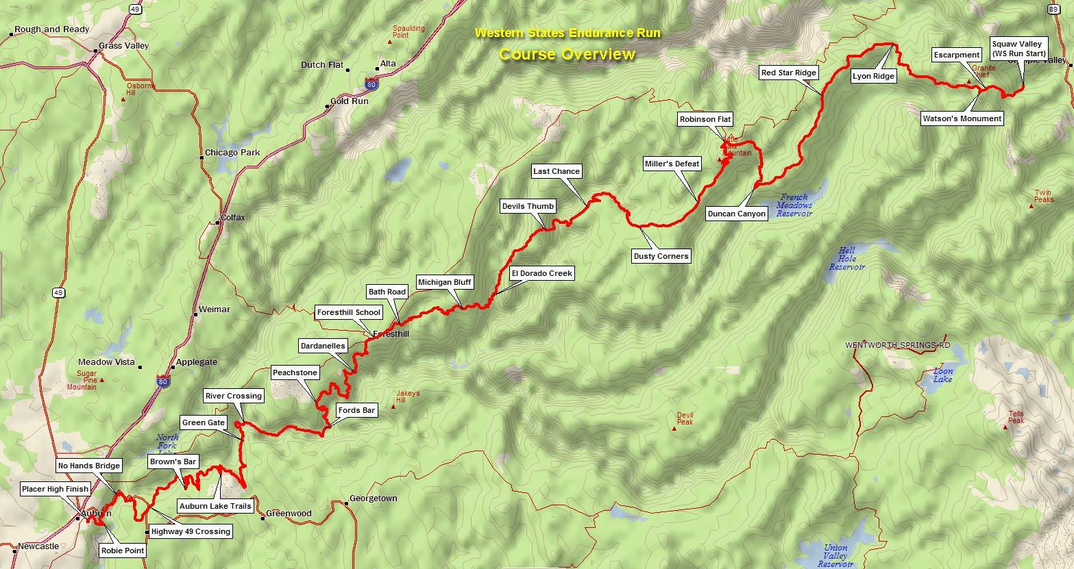 Sơ đồ đường chạy giải Western States 100 (Nguồn: wser.org)