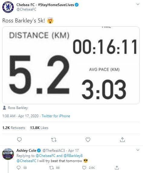 Twitter Chelsea khoe tracklog Strava của Ross Barkley