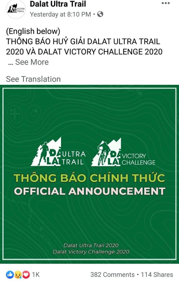 Dalat Ultra Trail 2020 hủy
