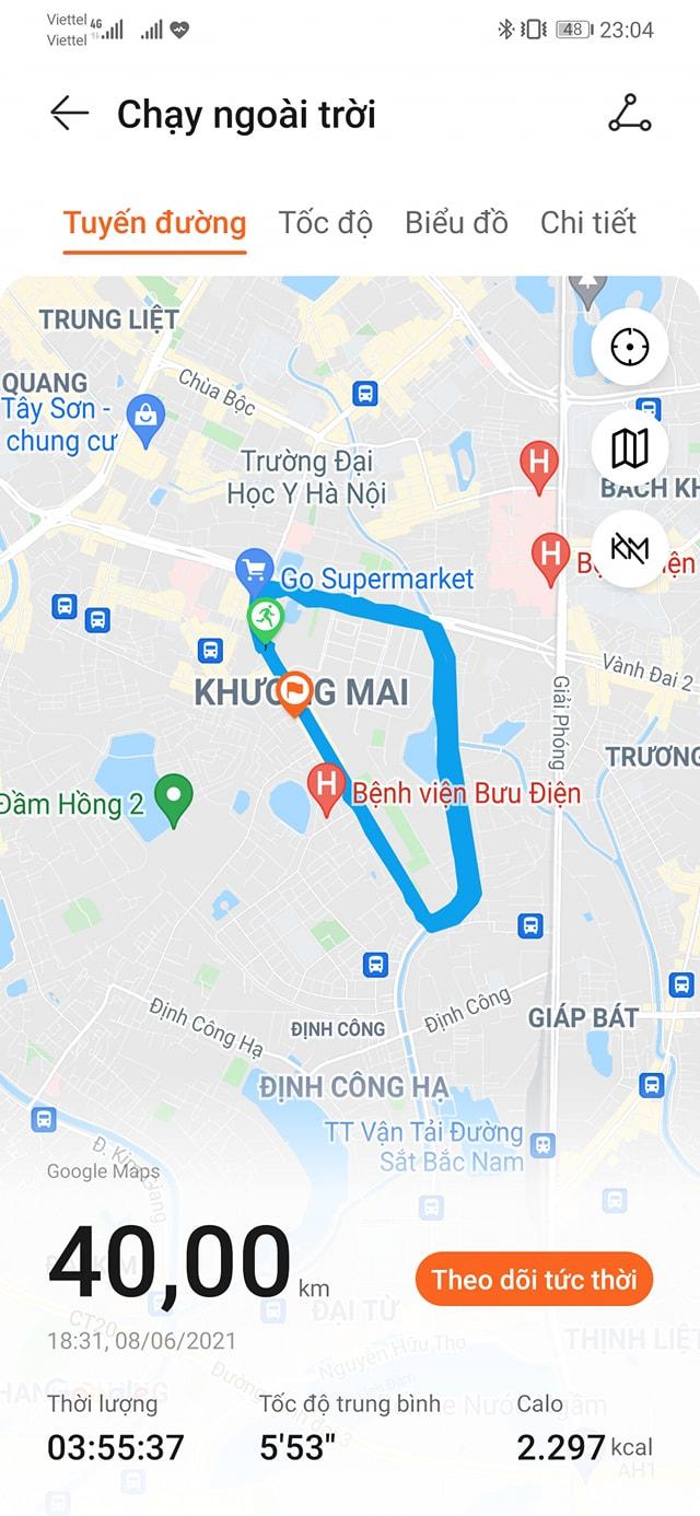 Tracklog của runner Dương Minh Vương