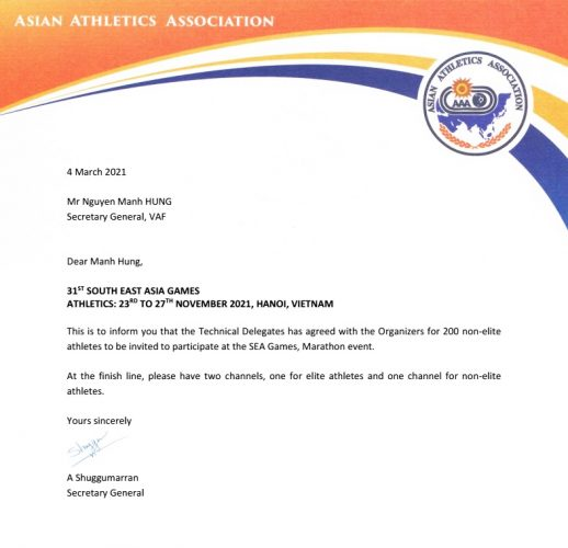 Thư chấp thuận của TTK AAA gửi VAF